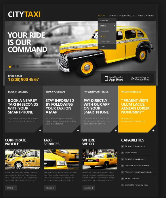 Taxi website Design London | C Factory